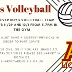Boys' Volleyball Tryouts: Wednesday 11/29 and Thursday 12/1 from 5 – 7 p.m.