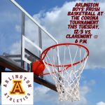Arlington Frosh Boys' Basketball to play in Corona Tournament on Tuesday, 12/5, against Claremont at 6 p.m.