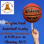 Arlington Frosh Boys' Basketball to play in Corona Tournament on Thursday, 12/7, @ 4:30 p.m.