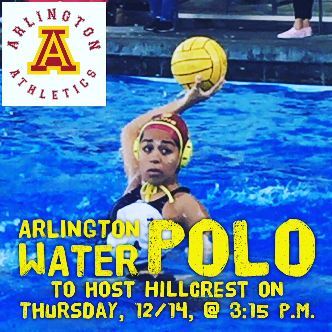 Arlington Girls' Water Polo vs. Hillcrest, on Thursday, 12/14.  Three levels to play.