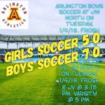 Arlington Sweeps J.W. North in Soccer on Tuesday, 1-9-2018.