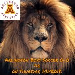 Arlington Boys Soccer 0-0 tie with Poly, on Thursday, 1/11/2018.