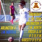 Arlington Girls Soccer 4-0 over J.W. North on Thursday, 1/25/2018.