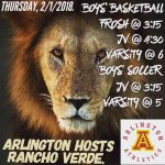 Arlington Boys Basketball downed by Rancho Verde on Thursday, 2/1/2018.