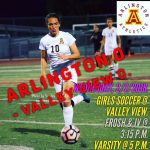 Arlington Girls Soccer ties to Valley View, 0-0, on Wednesday, 2/7/2018.