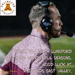 Thank you Coach Lunsford for three wonderful seasons.