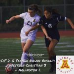 CIF Division V Second Round Game: Western Christian 3 – Arlington 1.