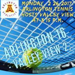 Arlington Tennis 16 -2 over Valley View on Monday, 2/26/2018.