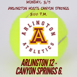 Arlington Boys Tennis bests Canyon Springs 12 – 6 in Inland Valley League play on Monday, 3/5.