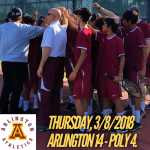 Arlington defeats Poly 14-4, in Boys' Tennis on Thursday, 3/8/3018.