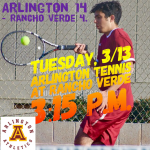 Arlington Boys' Tennis corrals the Rancho Verde Mustangs 14-4 on Tuesday, 3/13.