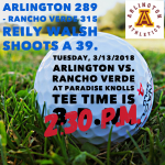 Arlington Boys' Golf 289-321 over Rancho Verde on Tuesday, 3/13, at Paradise Knolls.