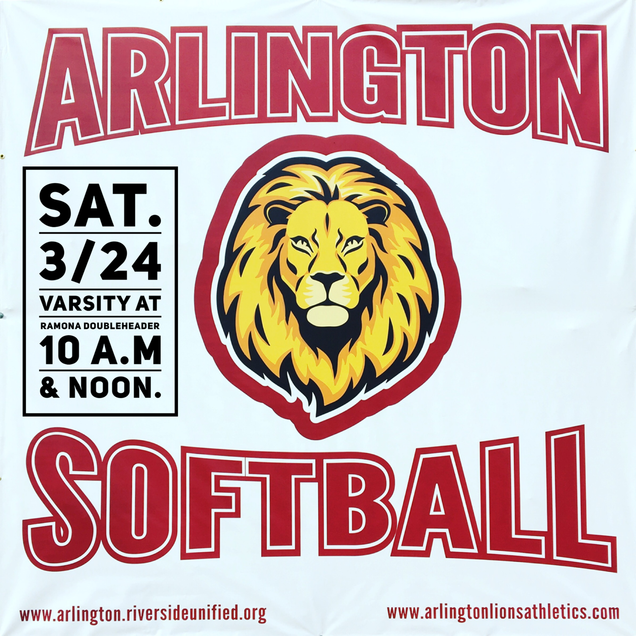 Arlington Varsity Softball at Ramona H.S. on Saturday, 3/24. – Doubleheader 10 a.m. and noon.