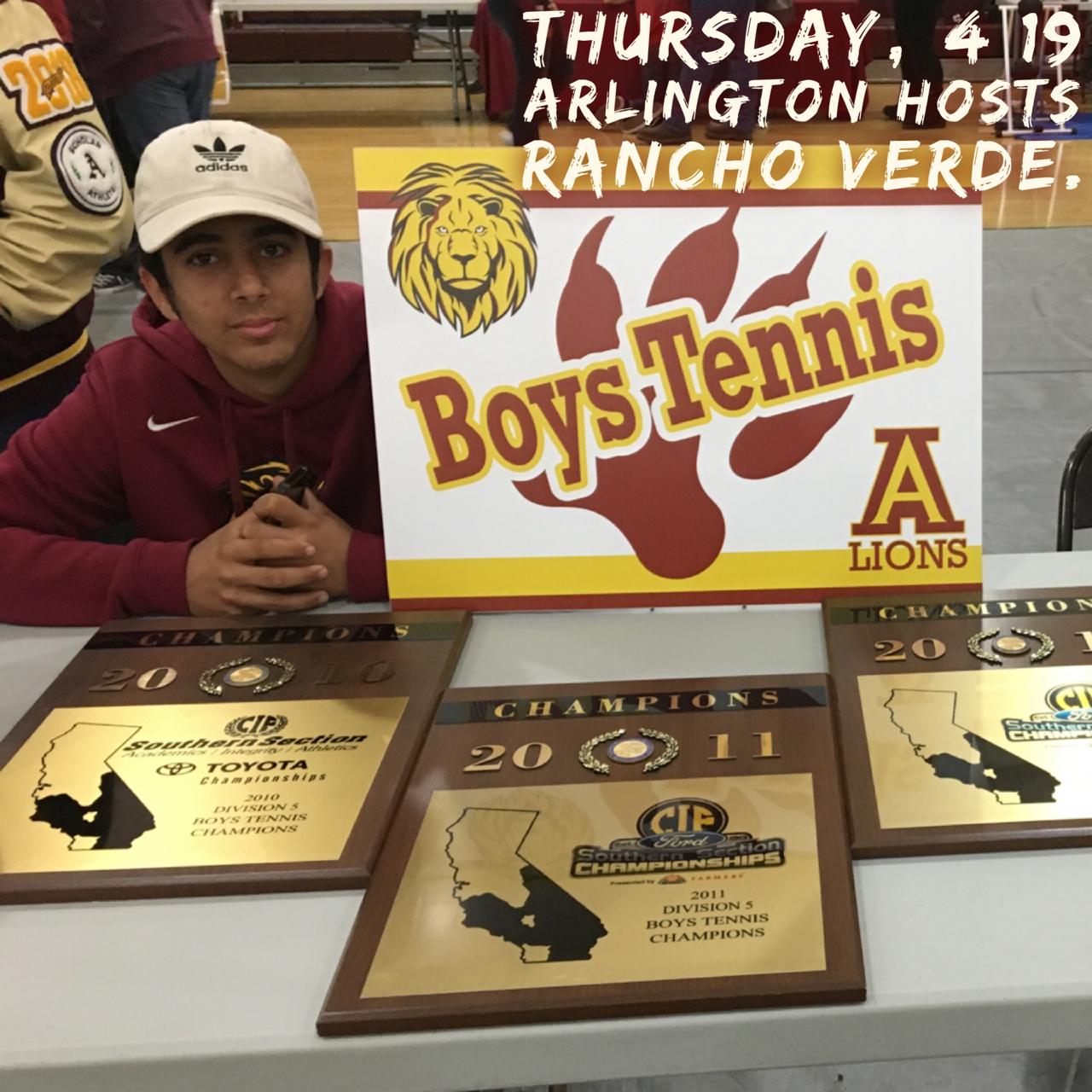 Arlington Tennis hosts Rancho Verde on Thursday, 4/19.