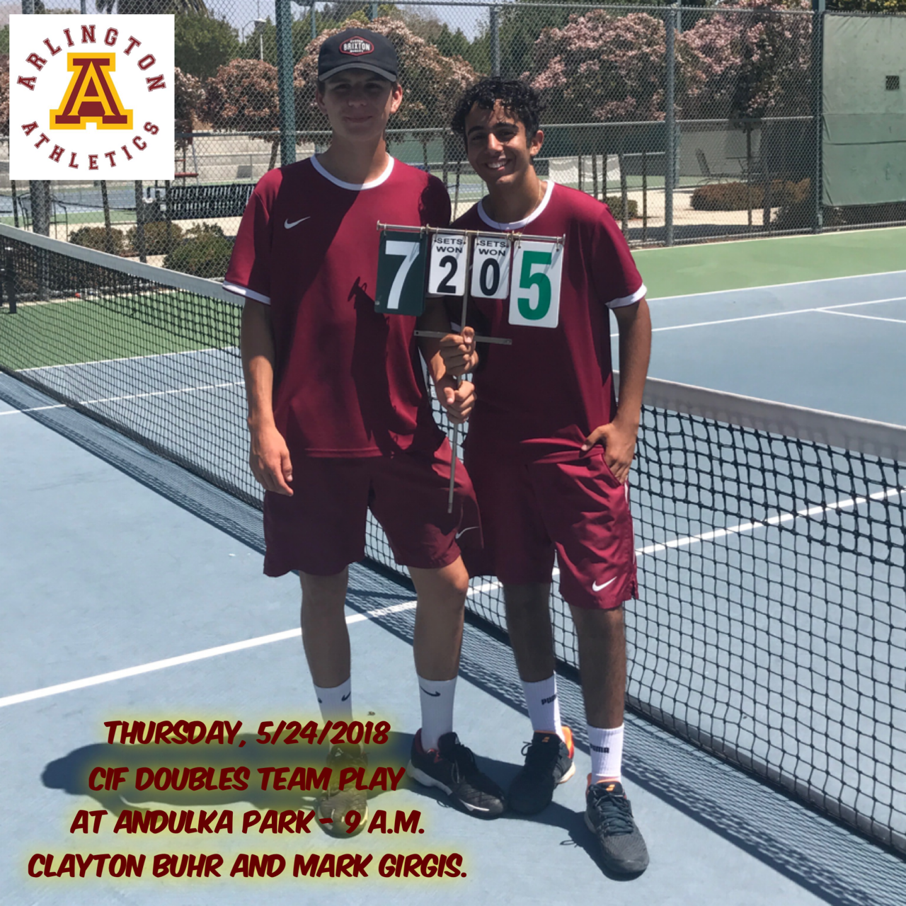 CiF Doubles Team Playoffs: Arlington at Andulka Park on Thursday, 5/24 at 9 a.m.
