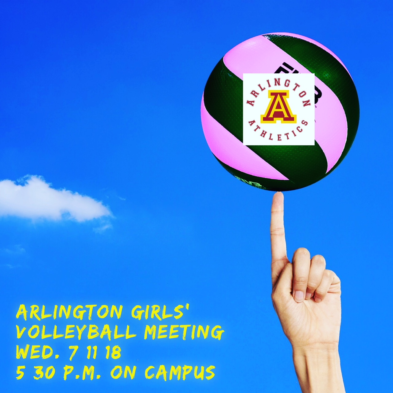 Arlington Girls Volleyball Meeting 5:30 p.m. on Wednesday, 7/11/2018 on campus.
