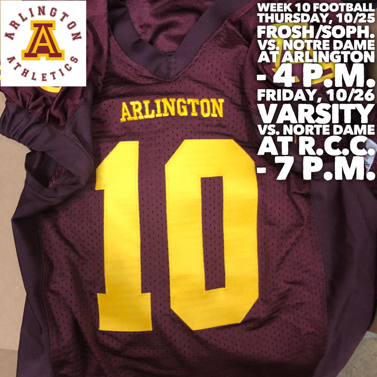 Week 10: Arlington Football vs. Notre Dame at Riverside City College – 7 p.m.