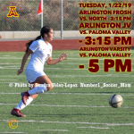Tuesday, 1/22: Arlington Girls' Soccer – Frosh @ 3:15 p.m. J.V. @ 3:15 p.m. Varsity @ 5 p.m.