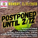 Tuesday, 2/12/2019: Arlington J.V. Softball at Hemet Tournament – 2 p.m. & 5:30 p.m.