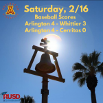 Saturday, 2/16:  Arlington Baseball bests Whittier and Cerritos at the Newport Elks Tournament.