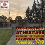 Tuesday, 3/19/2019: Arlington Frosh Softball at Heritage – CANCELLED