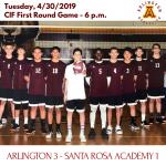 Tuesday, 4/30: Arlington Boys' Volleyball 3 – Santa Rosa 1.
