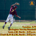 Tuesday, 4/9/2019: Arlington Baseball Update