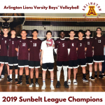 Arlington Boys' Volleyball wins the 2019 Sunbelt League Championship.