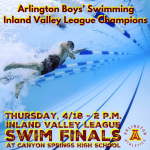 Arlington Boys' Swimming wins the 2019 Inland Valley League Championship.