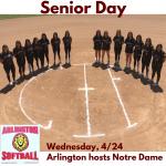 Wednesday, 4/24 Arlington Softball hosts Notre Dame – Varsity Only