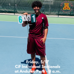 Friday, 5/17:  Arlington's Mark Girgis at CiF Sectionals at Andulka Park – 8 a.m.