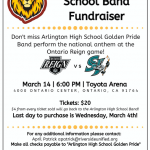 Arlington's Golden Pride Band; performing at Ontario Reign Hockey game.