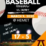 Freshmen Baseball Team defeats Hemet