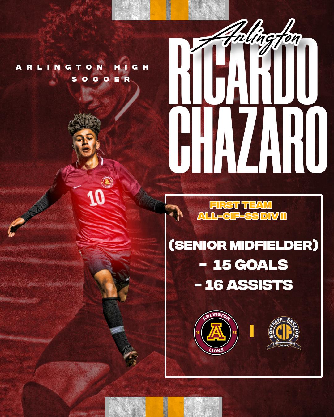 Ricardo Chazaro – First Team All-CIF-Div. II Boys Soccer