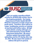 Athletic and Activity update