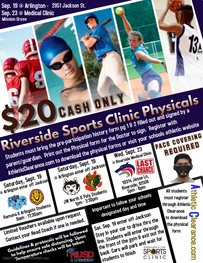 Saturday, September 19 Arlington will be hosting Sports Physicals on campus with the help of the Riverside Medical Clinic.