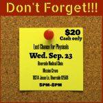 Last Chance to get your Physical – Wednesday September 23rd Mission Grove Riverside Medical Clinic