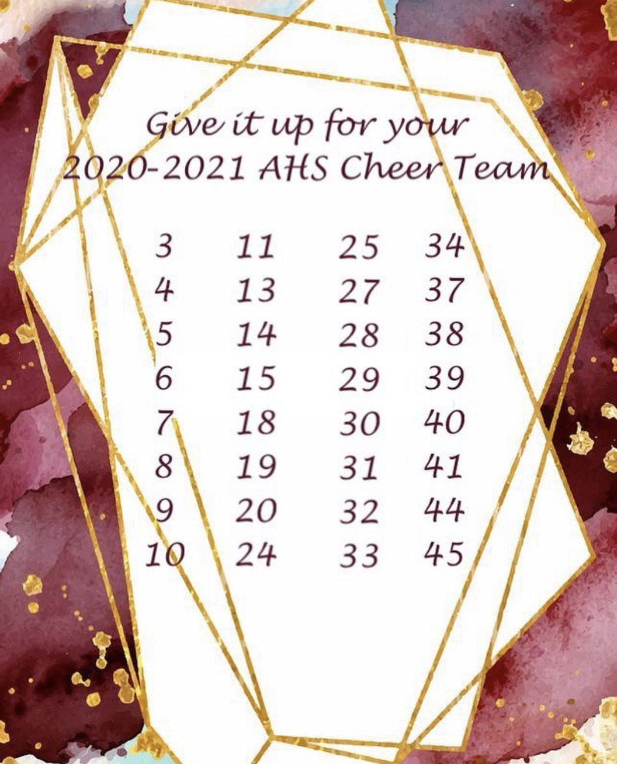 Welcome to the 2020-2021 Cheer Team! Congratulations