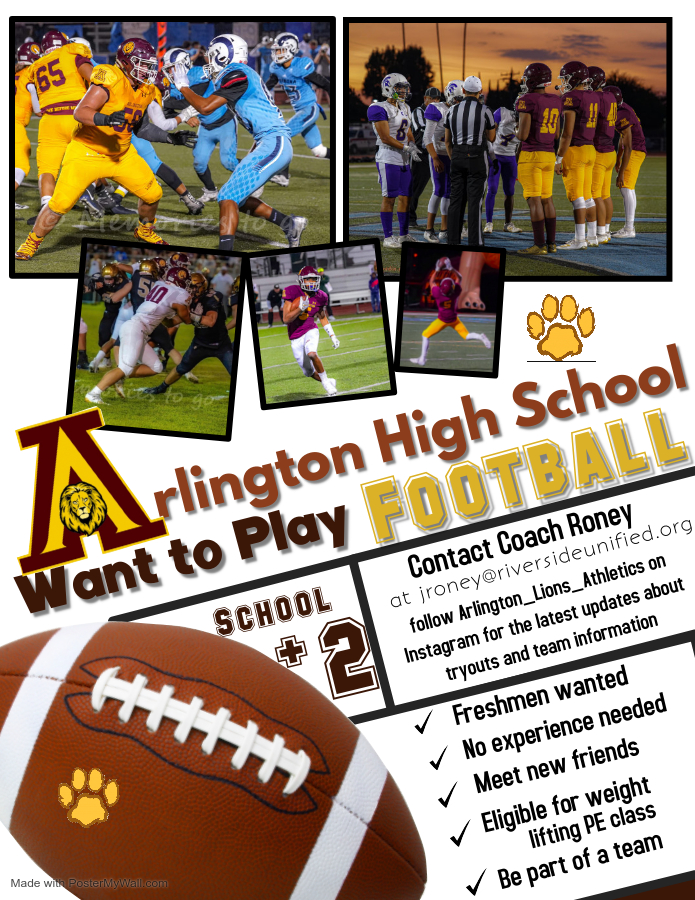 Interested in paying Football at Arlington; It's not to late! Contact Coach Roney