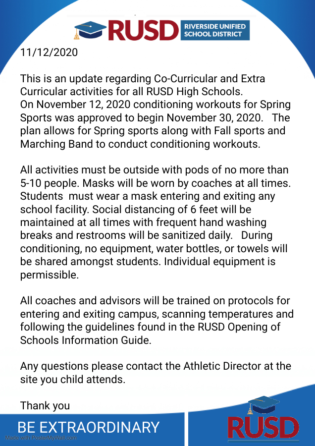 Update on Spring Sports – Conditioning can start November 30th