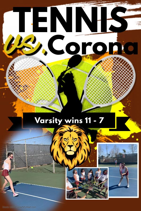 Tennis Season Opener – 11-7 WIN over Corona