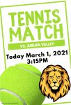 Tennis Home Opener TODAY  – MARCH 1 Good Luck LIONS