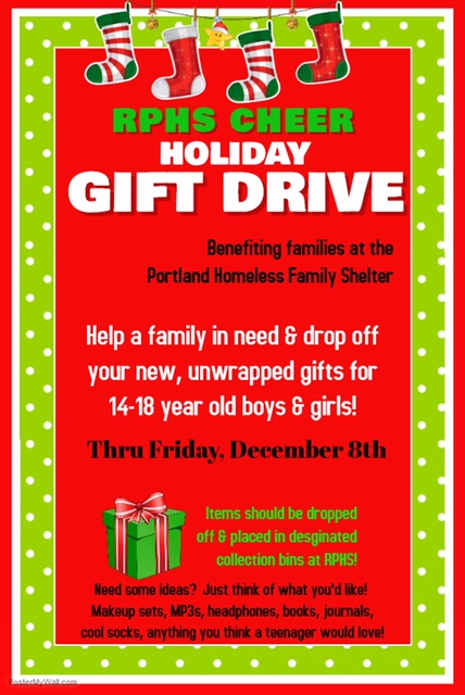 Cheer team Holiday gift drive