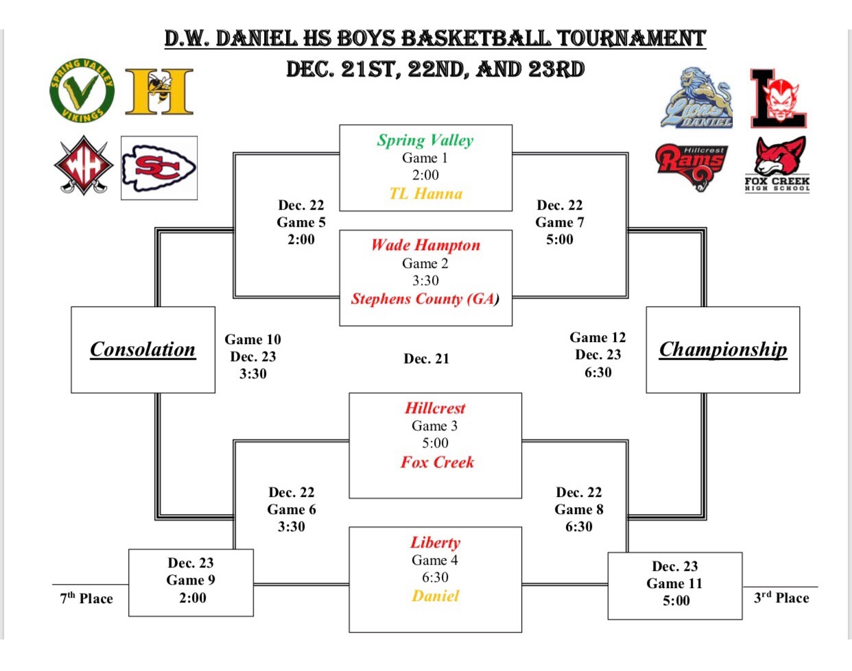Varsity Boys Basketball Will Participate in D.W. Daniel HS Holiday Tournament