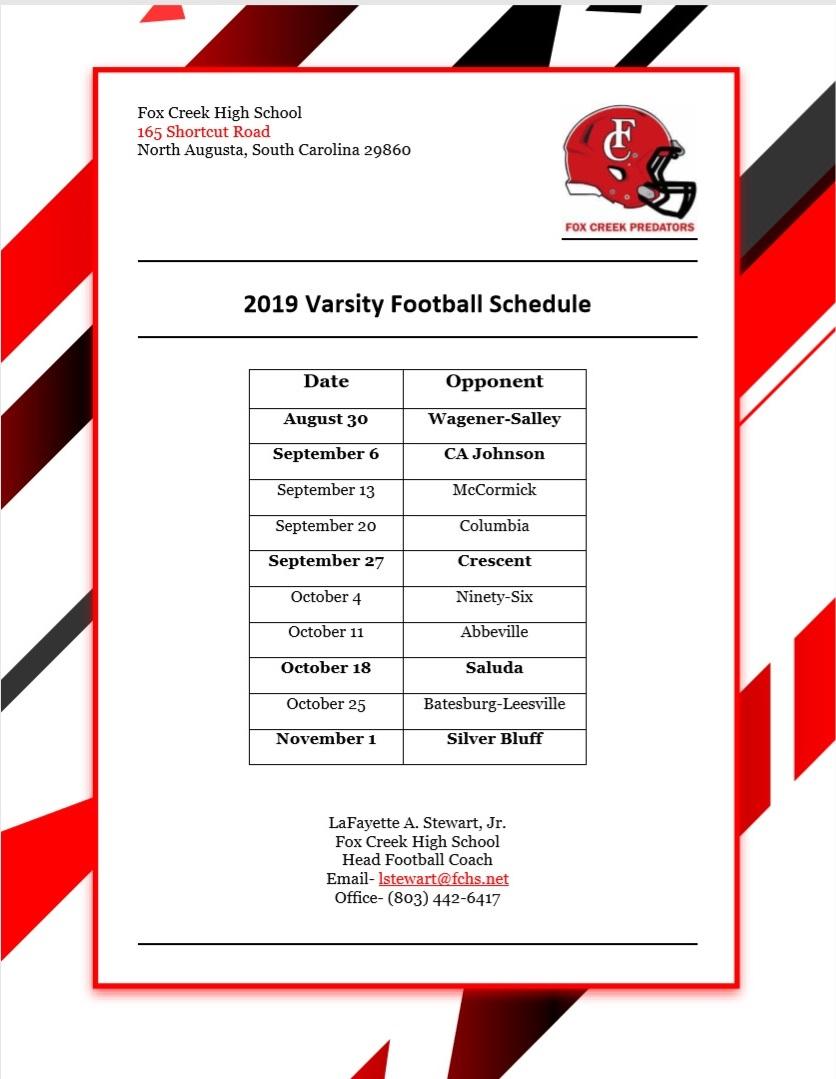 2019 FCHS Varsity Football Schedule Released