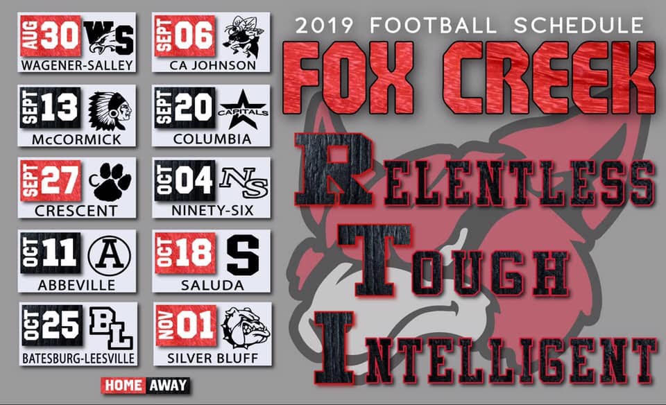 2019 Fox Creek JV/Varsity Football Schedules and August Pre-Season Schedule