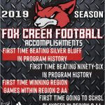 2019 Fox Creek Football Accomplishments