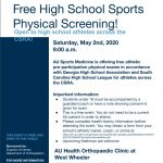 FREE Sports Physicals – Saturday, May 2nd at 9:00 A.M.