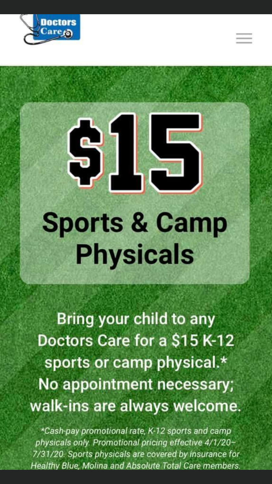 Doctor's Care Offering $15 Sports/Camp Physicals