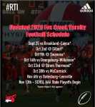 UPDATED 2020 Fox Creek Varsity Football Schedule Released